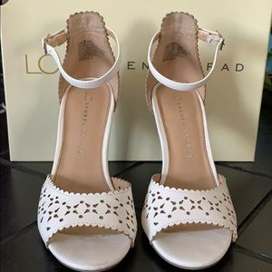 Lauren Conrad laser cut white heels